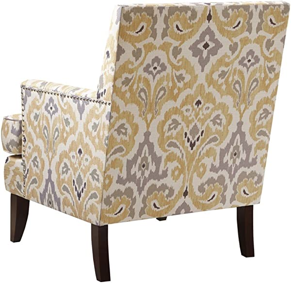 Madison Park MCC100 0001 Colton Accent Hardwood Brich Wood Damask Print Bedroom Lounge Mid Century Modern Deep Seating High Back Club Style Arm Chair Living Room Furniture