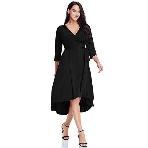 690698dc6 GRAPENT Women's Plus Size Solid V Neck Knee Length 3/4 Sleeve Hi Lo True