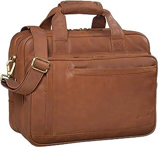 """STILORD Excelsior"""" Schultasche Leder Herren Damen Lehrertasche Aktentasche Büro Schulter- und Umhängetasche für Laptop Dreifachtrenner Echt Leder Vintage"""