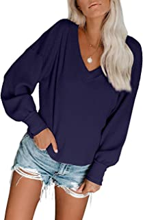 aubohuc Women's V Neck Long Sleeve Waffle Knit Top Off Shoulder Pullover Sweater