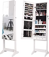 Nicetree Jewelry Cabinet with Full-Length Mirror, Standing Lockable Jewelry Armoire Organizer, 3 Angel Adjustable, White