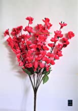 VCK Artificial Peach Blossom Flower Bunch (9 Stems, Dark Pink, 45 cm)