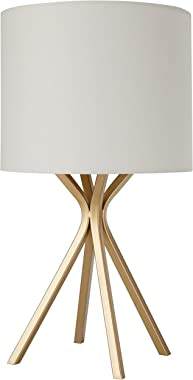 Amazon Brand – Rivet Gold Bedside Table Desk Lamp with Light Bulb - 18 Inches, Linen Shade