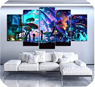 Modular Canvas Wall Art Pictures 5 Pieces Rick and Morty Paintings Living Room Printed Animation Posters Home Decor Framework,10x15 10x20 10x25cm,Frame
