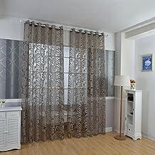 ستائر شفافة شفافة شبه معتمة متعددة الألوان ستائر النافذة الستائر الأرجوانية للديكور المنزلي (اللون: القهوة، المقاس: 100 سم...