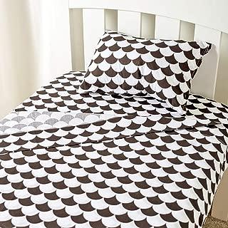 LOLLI LIVING Kayden Toddler Sheet Set (Pillowcase; Flat Sheet; Fitted Sheet) - Black Scallop