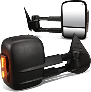 For Silverado/Sierra HD Pair of Black Powered + Heated Smoked Signal Glass + Manual Extendable Side Towing Mirrors