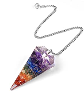 JK Ink. 7 Chakra Pendulum for Divination Reiki Healing Dowsing Natural Gemstone Crystal Pendulum Hexagon Point Stones Pend...