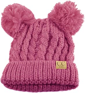Kids Ages 2-7 Pom Pom Ears Chunky Thick Stretchy Knit...