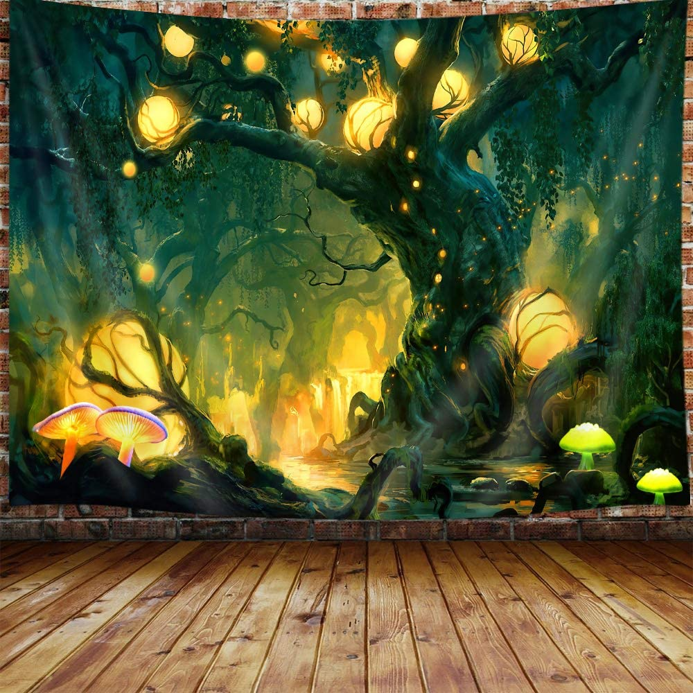 JAWO Tree of Life Tapestry, Trippy Forest Mushroom Fairy Decor Small Tapestry Wall Hanging for Bedroom, Psychedelic Nature Tapestries Poster Beach Blanket College Dorm Home Decor (Green, 60W X 40H)