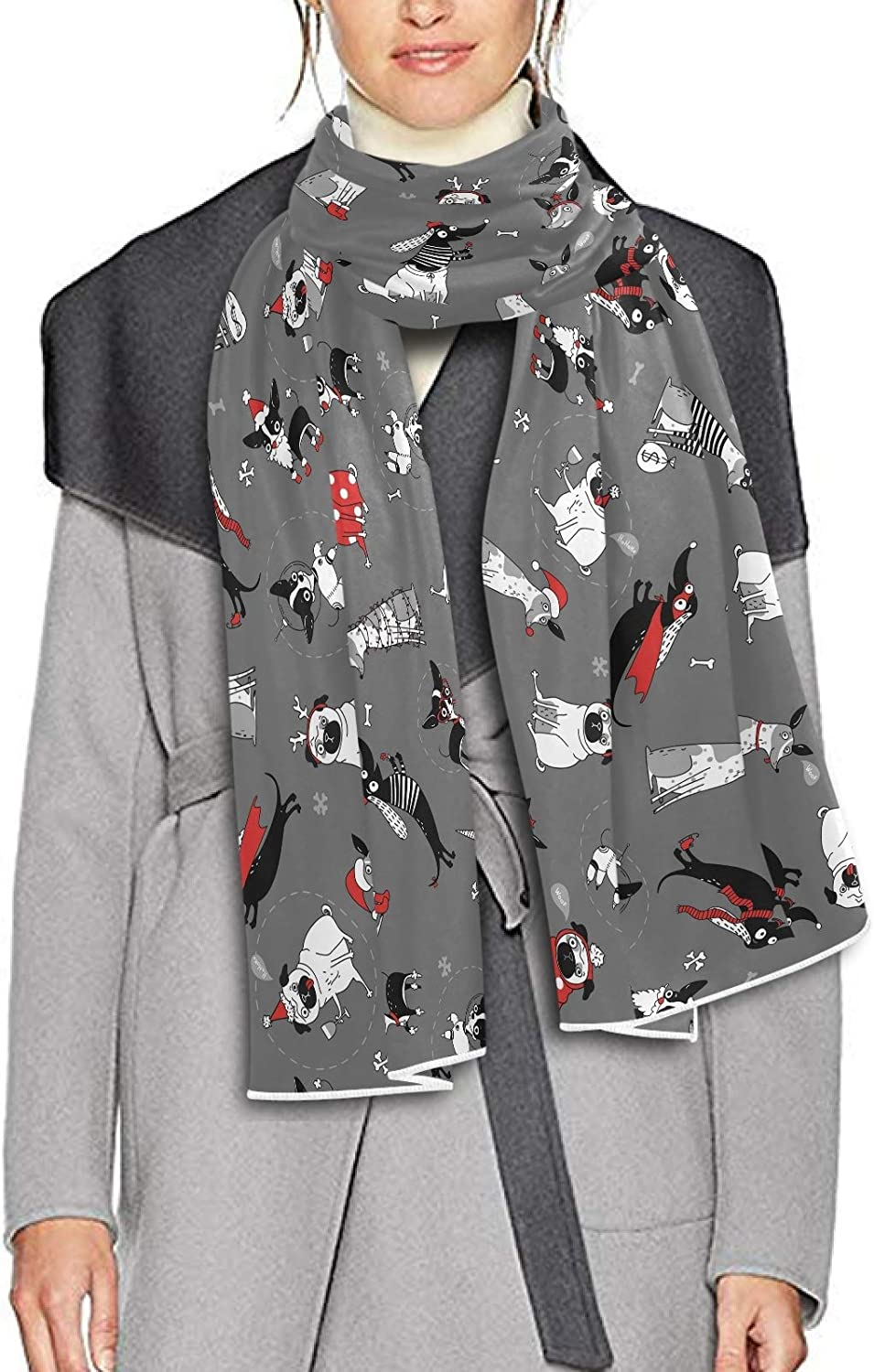 Scarf for Women and Men Funny Christmas Dogs Blanket Shawl Scarves Wraps Soft Winter Large Scarves Lightweight