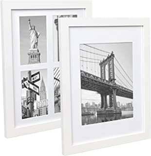 Hap Tim 11x14 Picture Frame White Wood Pattern Frame with 4 Mats Set of 2, Display 8x10 or Four 4x6 Photos with Mat, 11x14...