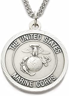 TrueFaithJewelry Sterling Silver United States Marine Corps Medal with Saint Michael Back, 1 Inch