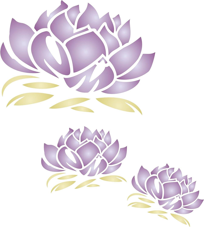 Lotusblüten-Schablone – wiederverwendbar, wiederverwendbar, wiederverwendbar, groß, Fancy Floral Mural Wandschablone – Verwendung auf Papierprojekten, Scrapbooks, Wänden, Böden, Stoff, Möbel, Glas, Holz usw, L B07FZZSYSM     | Gute Qualität  28a6c5