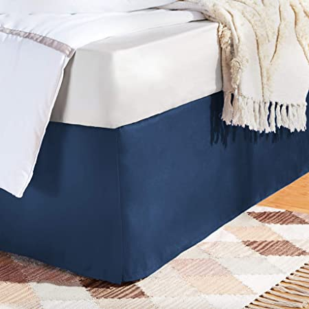 Amazon Com Bare Home Bed Skirt Double Brushed Premium Microfiber 15 Inch Tailored Drop Pleated Dust Ruffle 1800 Ultra Soft Collection Shrink And Fade Resistant Queen Dark Blue Home Kitchen