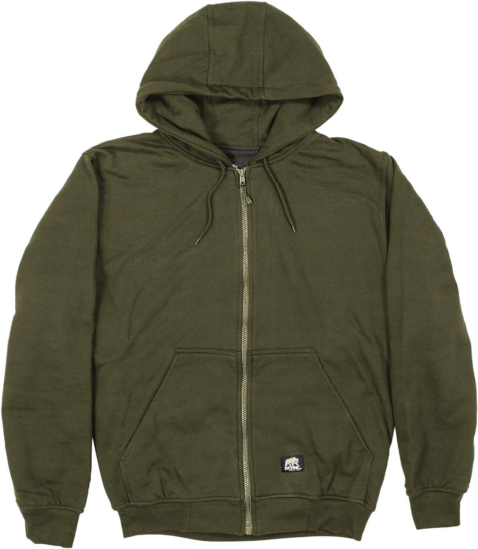 Berne Men's Thermal Lined Hooded Sweatshirt, Large Tall, Alpine Green