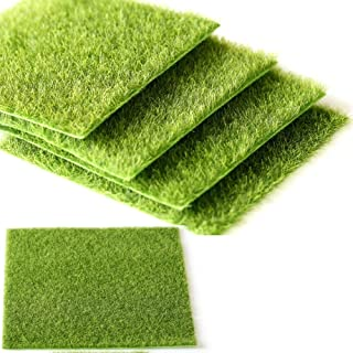 WSERE 5 Pieces Artificial Grass Landscaping Scenery Fake Turf Mat Rug Moss Decoration Grass Ornaments