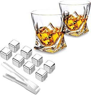 Whiskey Stones Gift Set With 8 Stainless Steel Ice Cubes and Two Twisted Shaped Whiskey Glasses, Reusable Stainless Steel Chilling Rocks & Tongs - Great for Scotch and Bourbon