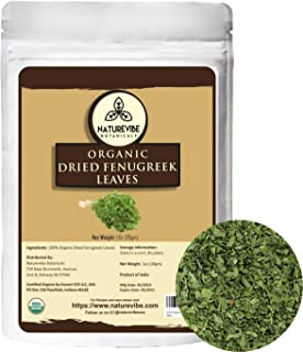 Naturevibe Botanicals Organic Dried Fenugreek Leaves (Kasoori Methi), 1 ounce (28gm) | Non-GMO and Gluten Free | Used for cooking | Adds Flavor