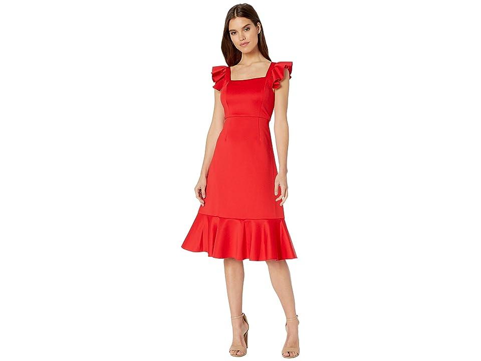 Betsey Johnson Scuba Midi Dress with Ruffled Shoulders (Lipstick Red) Women