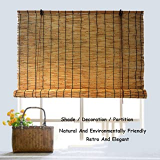 GaoLP Bamboo Shades, Straw Curtains, Reed Roller Blinds, Curtains, No Drilling Required, Shading/Dustproof, Customizable Size