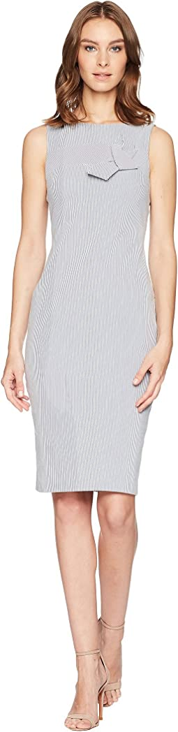 Calvin Klein Striped Sheath with Twist Knot Detail at Bodice CD8E11LF