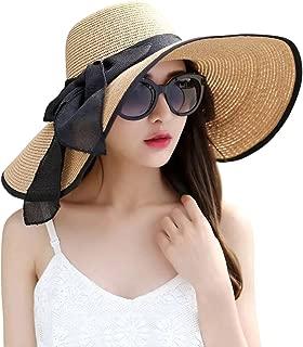 Womens Big Bowknot Straw Hat Foldable Roll up Sun Hat Beach Cap UPF 50+