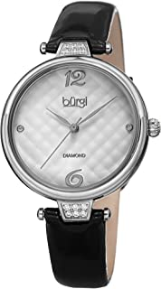 Burgi Leather Women's Watch - Smooth Leather Strap - Three Hand Movement with Unique Markers - Onion Crown - Round Analog Quartz - BUR222