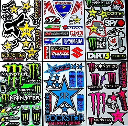 6 Bogen Aufkleber SWS selbstklebend Stickers Rockstar Energy Drink BMX Moto-Cross Decals Abziehbilder MX