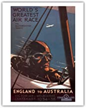 England to Australia - World's Greatest Air Race for the MacRobertson Trophy, Victorian & Melbourne Centenary - Vintage World Travel Poster by Percy Trompf c.1934 - Fine Art Print - 11in x 14in