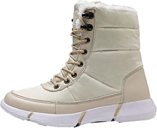 DJiess Hommes Bottes Chaudes Couleurs mélangées Hiver Bottes de Neige imperméables Chaussures avec Fourrure en Peluche déc...