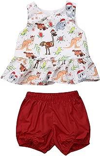 MAMOWEAR Todder Baby Girl Christmas Outfits Animal Print Ruffle Sleeveless Top + Short Pants Set