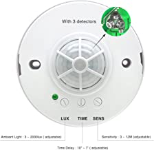 Sensky 360 Degree Ceiling Mounted Occupancy Sensor High Sensitivity PIR Motion Sensor Switch with 3 detectors Time Distance and Light Adjustable (Max Detection Distance:12 M)