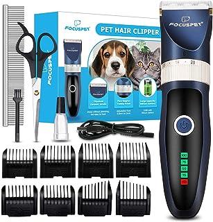Focuspet Cortapelos para Perro y Gato, Kit de Cortapelos para Mascotas Profesional, Máquina de Cortar Pelo Inalambrica con 8 Peines y 5 Longitud Ajustable para Pelo Rizado y Largo de los Animales