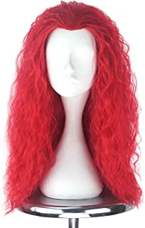 Men Adult Unisex Long Fluffy Curly Party Cosplay Costume Wig Halloween 80s Punk Wig (Red)