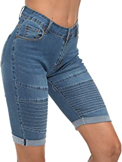 Womens High Waist Ripped Hole Washed Distressed Short Jeans