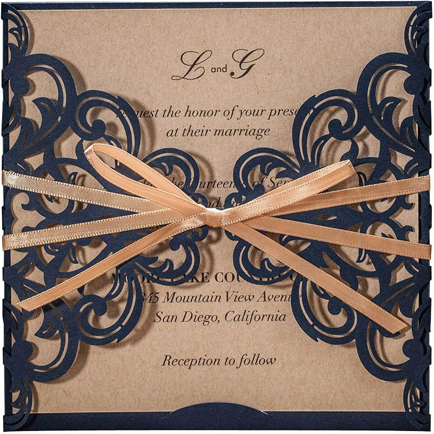 WISHMADE Wedding Invitations Cards 50X Laser Cut Rustic Navy bluee Square Invitations with Bow Lace Sleeve for Engagement Baby Bridal Shower Birthday Quinceanera CW6175B