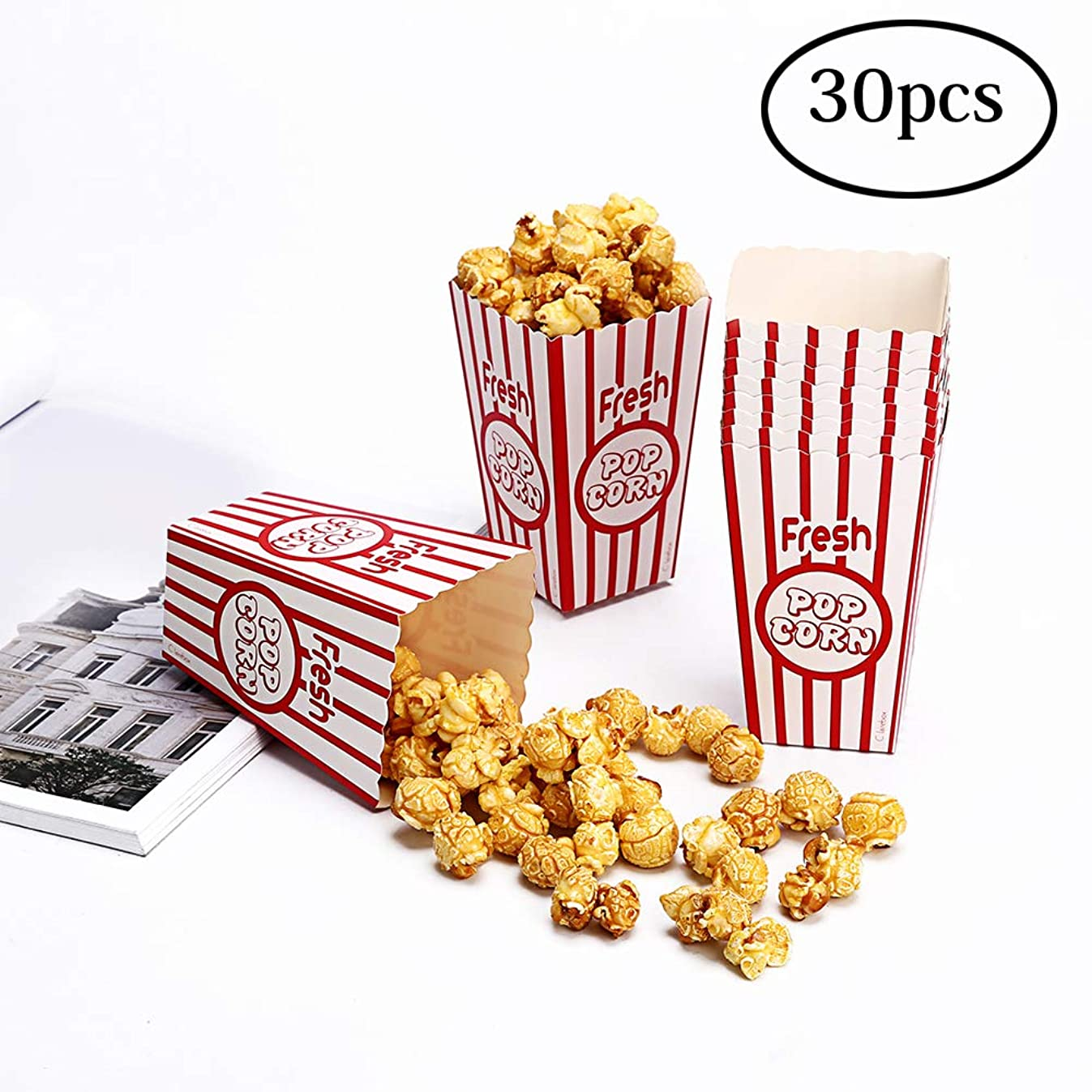 Movie Party Popcorn Boxes Food Grade - Striped Red and White - Popcorn Party Supplies for Movie Night, Festivals, Carnival Party Theme (30boxes)