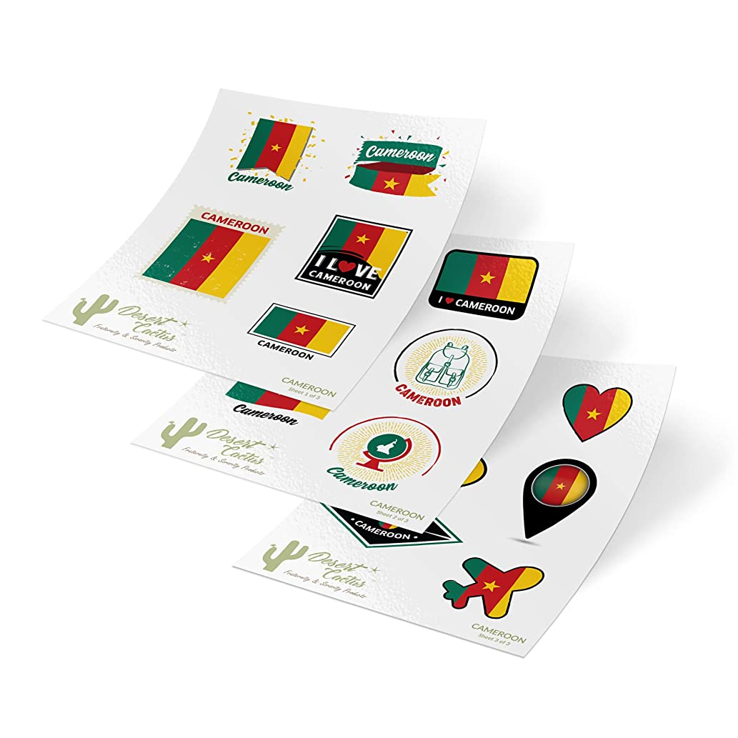 Cameroon Country Flag Stickers Decals 3 Sheets 17 Total Pieces Kids Logo Scrapbook Car Vinyl Window Bumper Laptop 3 Sheets