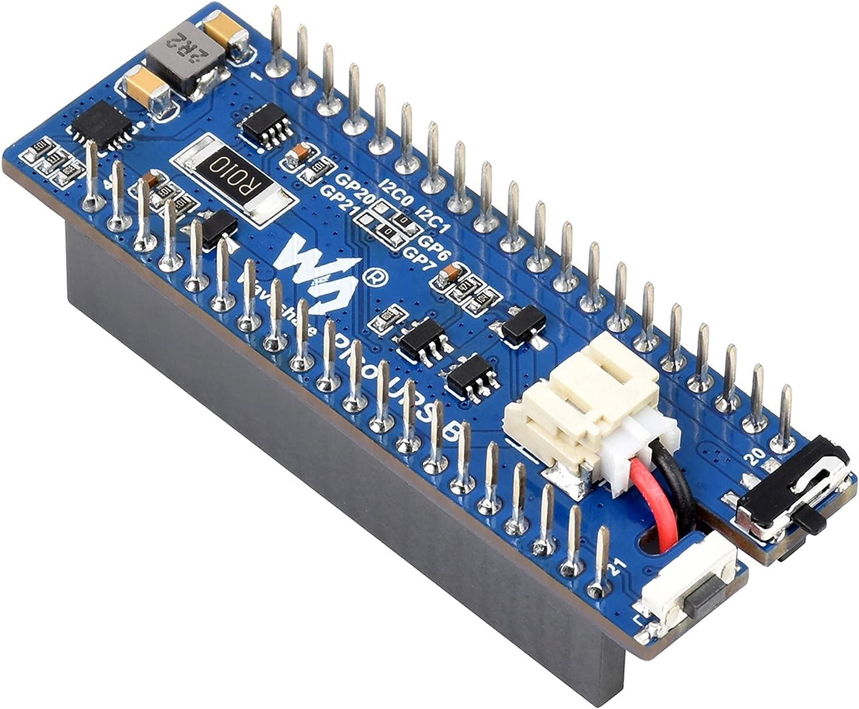 UPS Module (B) for Raspberry Pi Pico Board, Uninterruptible Power Supply UPS HAT,Li-po Battery Running While Recharging, Monitoring Battery via I2C Bus, Stackable Design