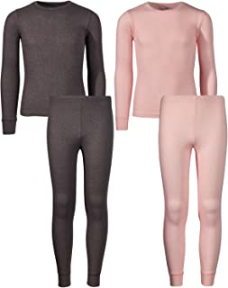 Girl Waffle Thermal Underwear Top and Pant Set (2 Full Sets)
