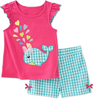 Bumeex Toddler Girls Summer Outfit Cotton Top and Shorts Clothing Set