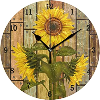 ZZKKO Rustic Summer Sunflower Wall Clock, Silent Non Ticking Battery Operated Easy to Read Decorative Wall Clock for Kitchen Bedroom Bathroom Living Room Classroom