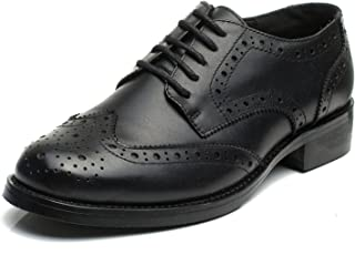 Women's Perforated Lace-up Wingtip Leather Flat Oxfords Vintage Oxford Shoes Brogues