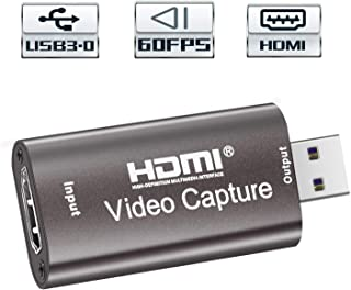 Audio Video Capture Card 60fps, 4K HDMI USB 3.0 1080P Reliable Portable Video Converter for Game Streaming Live Broadcasts Video Recording (Coffee)