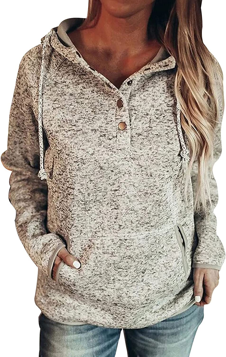 Hoodies for Women Buttons Collar Sweatshirt Solid Color Pocket Long Sleeve Drawstring Loose Fit Pullover Top