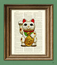 Maneki-neko Neko cat beckons Japanese cat illustration beautifully upcycled dictionary page book art print