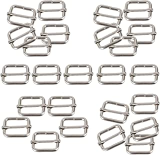 Hysagtek 50 Pcs 1 Inch Metal Adjustable Slide Buckle Strap Triglides Slides for Making Handbag, Backpack, Luggage Bag