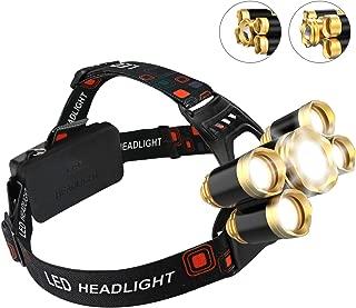 Headlamp, FightingGirl Brightest 12000 Lumen 5 LED Head lamp,USB Waterproof Headlight Flashlight with Zoomable Work Light, Head Lights for Camping Running Hiking