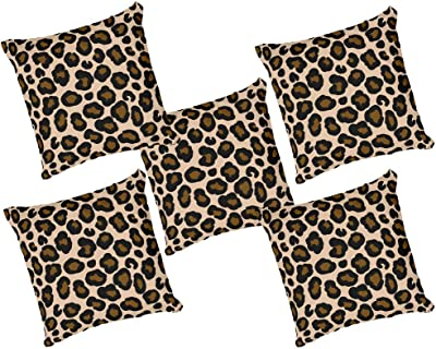 Raavi colors 12 x 12 inches Animal Pattern Multi Colour Cushion Covers Set of 5 Satin with Filler.(RC94)